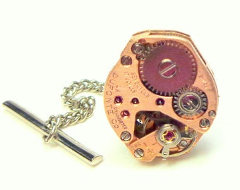 Steampunk Tie Tack, Men's Formal Wear, Ruby Jeweled, Antique Watch Movement,Rose Gold, Watch Work Fashion, Father's Day Gift
