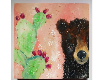 Original folk art bear painting mixed media art painting on wood canvas 6x6 inches - The Bear and the Prickly Pear
