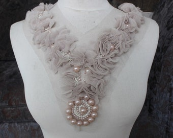 Cute   embroidered  and  beaded  flower applique  1  piece listing