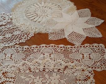 7 Vintage Handmade Crocheted Lacy White Doilies Vintage Linens Retro Textiles