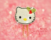 Holiday Kitty Glitter Paper Clip