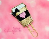 GOLD COFFEE CUP Glitter Paperclip in black, pink, and gold