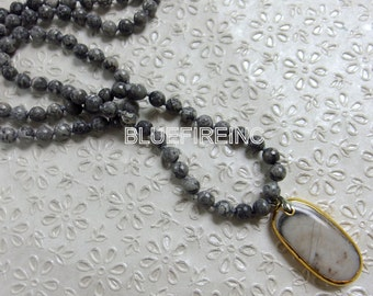 35 inches long Faceted Gray Picture Jasper in 8mm Beaded Necklace, Hand Knotted Necklace