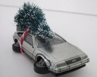 Back to the Future II - DELOREAN - Hot Wheels - Christmas ORNAMENT or Embellishment - Christmas Tree Tied to Top