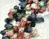 "9 Dozen Vintage Silk 1"" Rosebuds Pink Burgundy Navy Blue & Colonial Blue ~ Bulk ~ Destash ~ Craft Supplies ~ Shabby Cottage Roses"