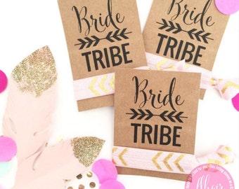 Bride Tribe Single Set 1 card Hair Tie KIT Bachelorette Party Favors Accessories Hair Bridesmaids Bohemian Glitter Boho Tribal Aztec