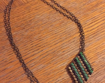 Beaded Pendant Necklace on Antique Brass