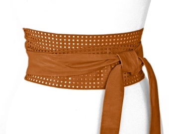 Light brown leather obi belt, tan wrap belt - Desiree