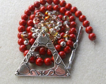 Triangle Pendant Clasp, Red Sponge Coral, Glass Beads, Gemstone Beads, DIY Jewelry Kit, Craft Supplies, Bead Kit, Necklace Design