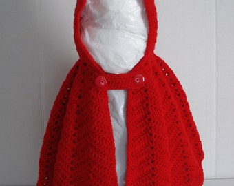 Little Red Riding Hood Crocheted Bright Red Dress Up or Everyday Cape for Little Girls in Size 48 Months 4T