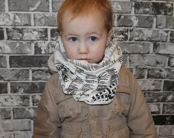 Kids Newsprint Infinity Scarf, Kid Scarf, Handmade, Hand Printed, Made in Canada, Circle Scarf