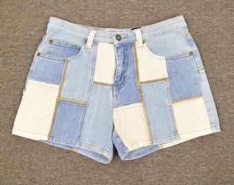 Vintage Patched Denim Shorts, Size XS, Size Zero, 90's Clothing, Grunge, Short Shorts