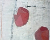 """ON SALE Modern Abstract Painting -  16x16x2"""" on Birchwood- Textured Painting- Red- Black-Light Gray -White-Ready To Hang"""