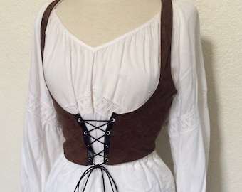 Women's Underbust Vest - Lace Up Corset Dirndl Style Pirate / Renaissance Fair