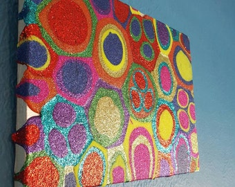 Multi-coloured Glitter Painting Mixed Media Original Abstract Artwork