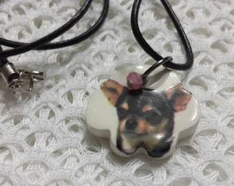 Ceramic Chihuahua Dog Paw Necklace