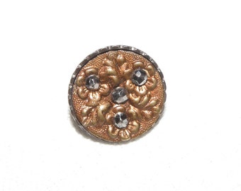 Small Steel Cup Cut Steels Tinted Button with Triad of Flowers and Leaves