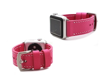 Apple Watch Leather Band in Caviar Pattern Embossed calf HOT PINK