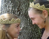 Gold Silver or Pink Crown in Sparkle Crochet Headband, Costume, & Birthday