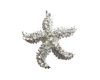 NEW - 5 Starfish Crystal Rhinestone Button - Wedding Invitation Card Hair Accessories Shoe Clip Garter Cake Topper RB-138 (28mm or 1.1inch)