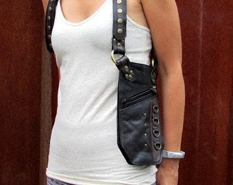Leather Holster, Utility Belt Bag, Festival Bag, Shoulder Bag, Arm Holster, Burning ManBag, Steampunk Clothing HB34d