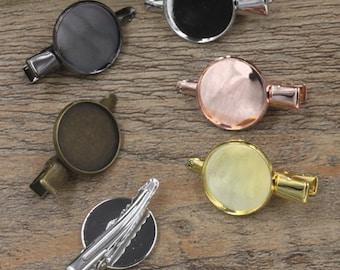 20 Hair Clips W/ Brass Antique Bronze/ Silver/ Gold/ Rose Gold/ White Gold/ Gun-Metal Plated Hair Clip W/ 18mm Round Bezel Setting- Z5911