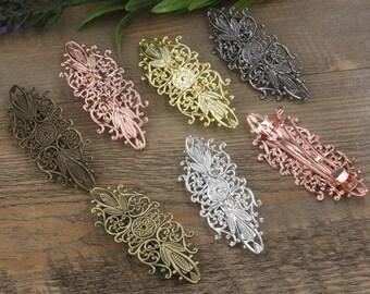 5 Hair Barrettes- Brass Bronze/ Silver/ Gold/ Rose Gold/ White Gold/ Gun-Metal Plated 35x87mm Filigree Floral Barrette Base Setting- Z7615