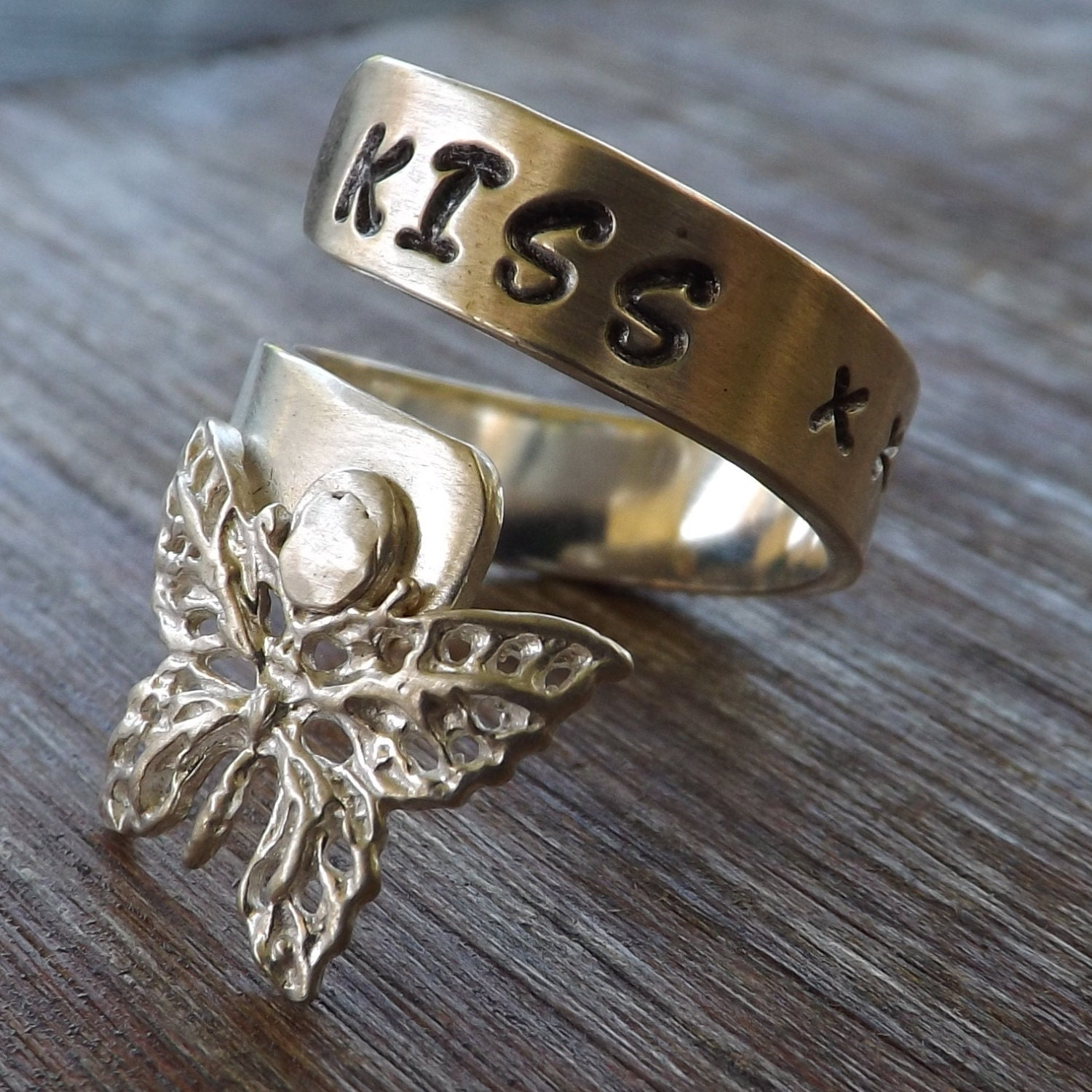 sterling silver butterfly wrap ring silver statement ring