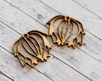 Lotus flower earring components, Leaves pendants, Floral jewelry supplies, Large wood pendants, lasercut wood, leaves embellishments, 2 pcs