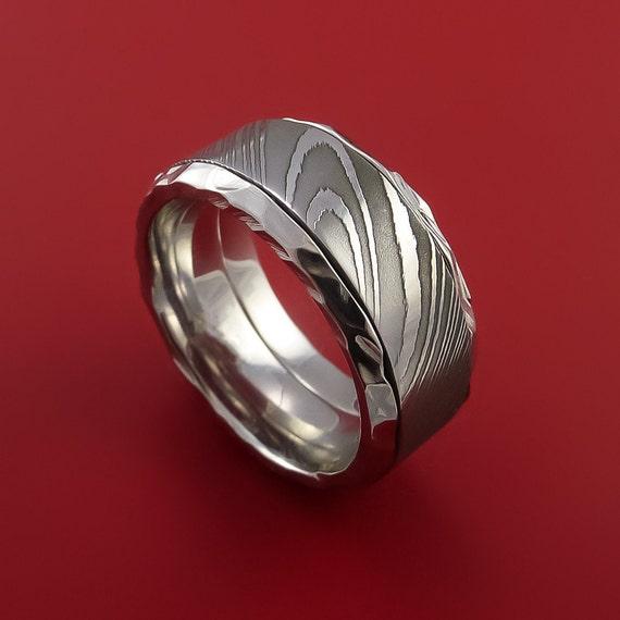Damascus Steel In Cobalt Chrome Wedding Band Custom Made