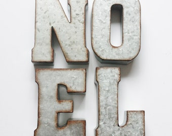 "METAL NOEL LETTERS Sign Holiday Rustic Christmas Decor Mantle Galvanized Zinc Industrial Rust Vintage Style Words Custom Words 7"" Signage"