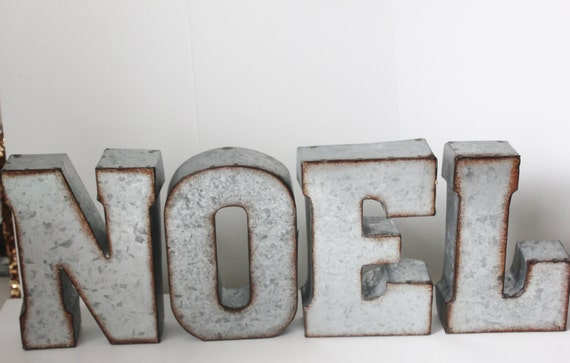 Metal noel letters sign holiday rustic christmas decor mantle