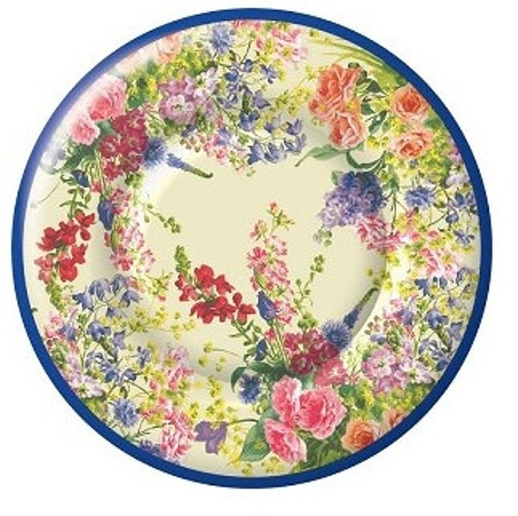 12 FLORAL TEA PARTY Paper Plates Parisian Vintage Style Shabby Chic ...
