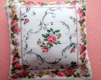 Dolls House Cushion Printed on Cotton Miniature  4 x 4 cm 1/12th #14