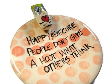 Happy People Polka Dot Dish with Owl Hand painted