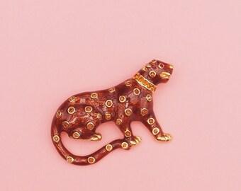 80s Leopard Brooch // Cat Brooch // Baroque Brooch // Panther Brooch // Leopard Pin // Enameled Gold Tone Brooch
