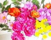 Table Decoration - MIX Flowers - Handmade Paper Flowers -Set of 12 - On stems - Made to Order - Customize your style and colors