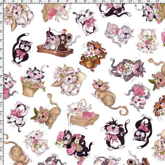 NEW Loralie Designs Tossed Fancy Cats White fabric 1 yard