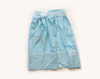 Vintage 1950s Blue and White Gingham Apron with Embroidery