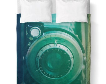 Duvet Cover/ Green Vintage Camera / Bedding/ Comforter Cover/ Twin, Queen, King/ Photographer gift
