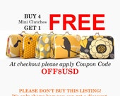 Buy 4 Mini Clutches Get 1 Free COUPON CODE