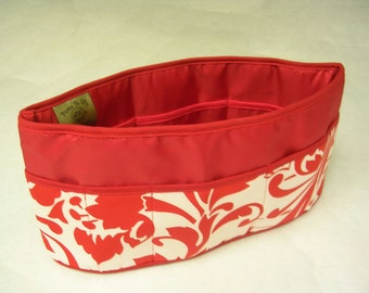 Purse To Go(R)Pockets Plus-Purse organizer insert transfer liner Red Floral Print- large size Enclosed bottom