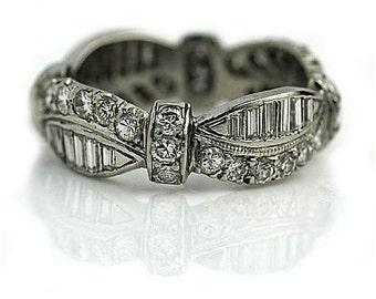 Antique Platinum Wedding Band Round & Baguette 3.70ctw Art Deco Diamond Ring Diamond Wedding Ring Platinum Vintage Ring Size 7.5!