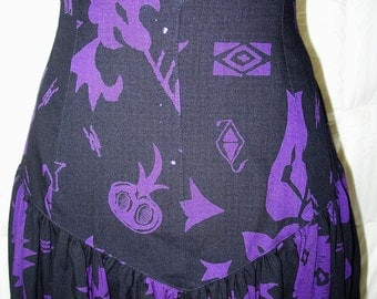 Vintage ESCADA 1980s Black & Purple Full Wool Skirt Sz 38/8