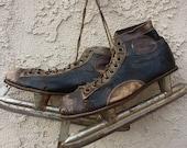 Vintage Antique Ice Skates Men's Union Hockey Black Leather