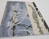 Small original botanical print by Stef Mitchell Coastal seed head floral print Dusky sky blue Influenced by Japanese art & Art Deco