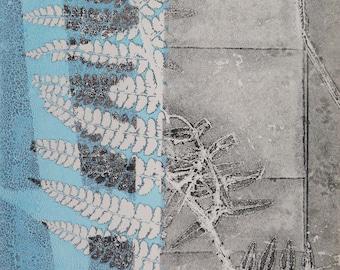 Small wall art Original botanical monoprint Handmade modern nature art print by Stef Mitchell Ferns and flora Turquoise blue black