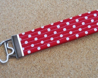 Red and White Small Polka Dot Key Fob Wristlet
