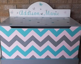 Chevron Turquoise and Grey, Kids & Baby, Toy Box, Bench, Kids Furniture Butterflys, Toy Chest, Nursery Decor,Toy Storage Custom  Kids