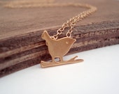 Small Gold Bird Necklace Gold Filled Chain Vermeil Little Bird on a Branch Necklace Collier Oiseau Or Gift Idea Minimalist